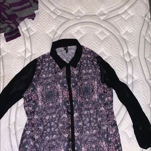 Maurices Sheer Button  Up Shirt